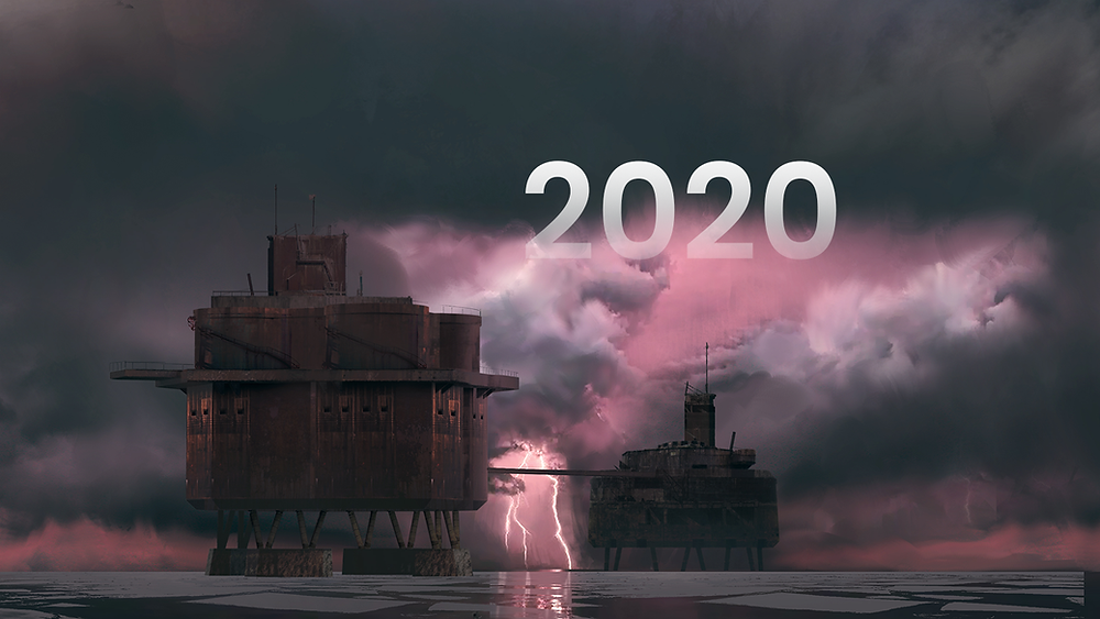 "Concept art of a derelict sea fort, set upon a stormy, cloudy, pink sky. Lightning is striking in the background. The image has ""2020"" faded across the sky as a caption."