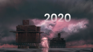 """Concept art of a derelict sea fort, set upon a stormy, cloudy, pink sky. Lightning is striking in the background. The image has """"2020"""" faded across the sky as a caption."""