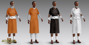 A set of 4 different outfits, displayed on a dark-skinned androgynous model. They show variations of medical prisoner uniforms, tying into the Monstrum 2 storyline, with how prisoners have been being experimented on.