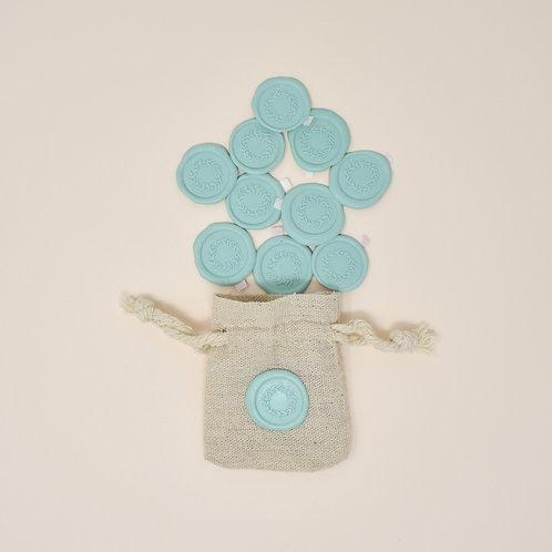 Self Adhesive Wreath Wax Seals in Pale Blue