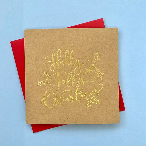 Embossed Holly Jolly Card, Pack of 4