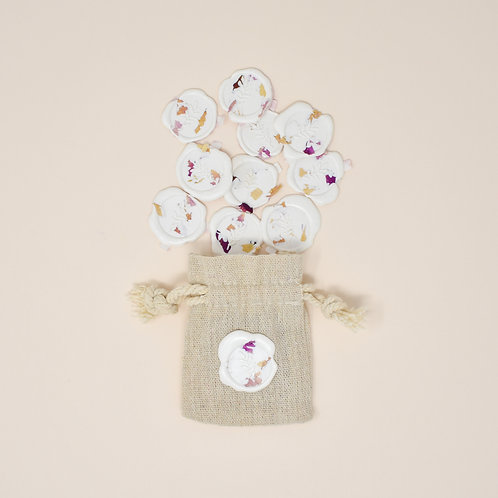 Self Adhesive Rose Petal Wax Seals in White