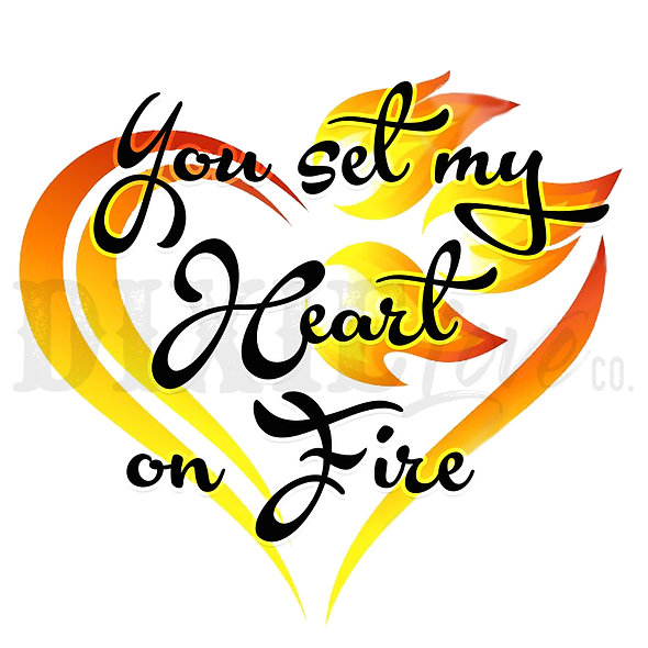Heart On Fire Printable 6x6