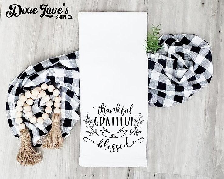 Thankful Grateful Blessed Tea Towel