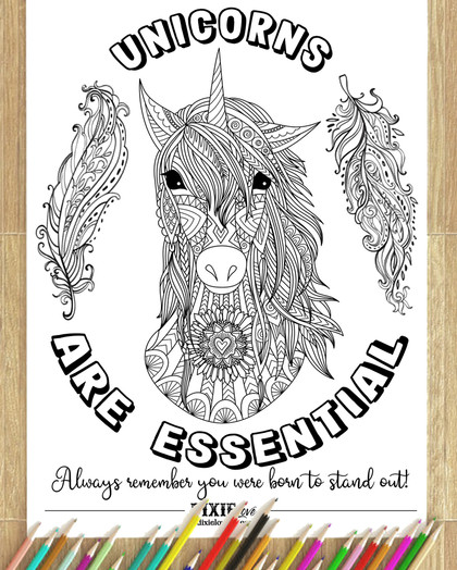 Unicorns Are Essential Coloring Sheet