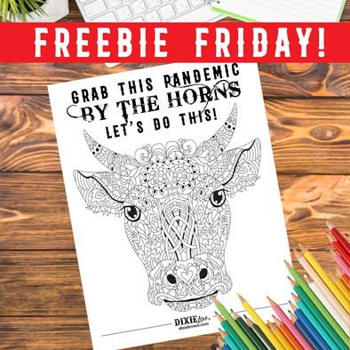 Grab This Pandemic by The Horns Coloring Sheet