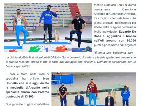 Sul podio assoluto Edoardo De Rosa nella finale agli attrezzi Argento per Ivan Brunello