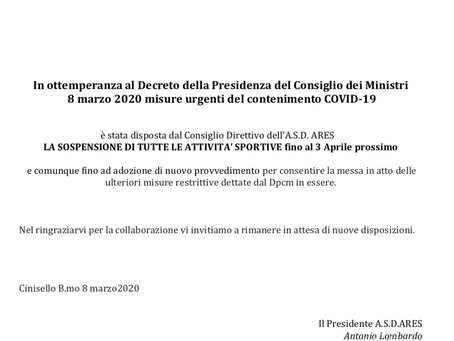 Misure urgenti del contenimento COVID-19