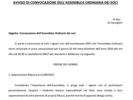 CONVOCAZIONE DELL'ASSEMBLEA ORDINARIA DEI SOCI