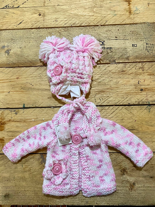 Newborn Pink cardigan & hat set