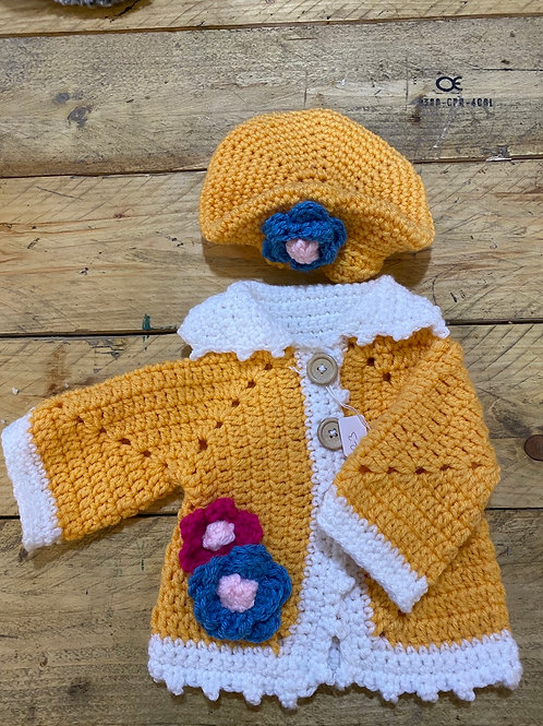 Orange and white cardigan and beret set