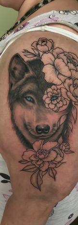 Illustrative Wolf With Flowers
