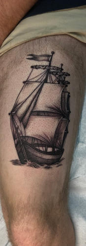 Illustrative Black and Grey Ship