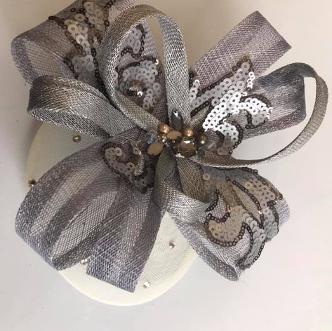 Silver fascinator with sequins