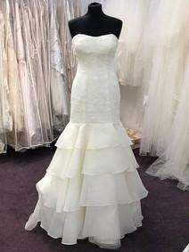 plain white tiered wedding dress