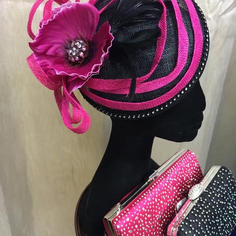Cerise pink and black fascinator