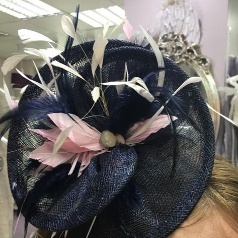 nacy and pink fascinator