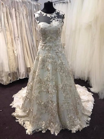 re-designed floral wedding gown front