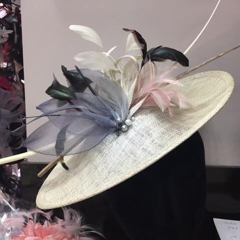 cream pink grey fascinator