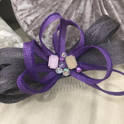 Purple fascinator with beading