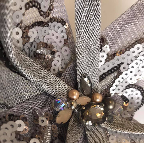 Chocolate brown crystals and beaded fascinator