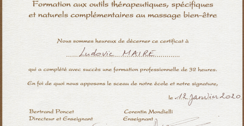Diplômes et certifications de massages