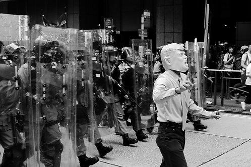 Hong Kong Police & Donald Trump Protester