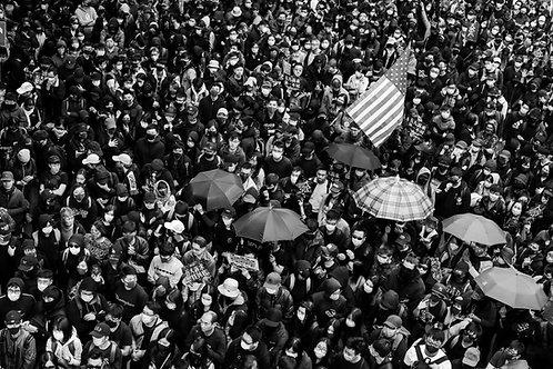 Protesters, Umbrellas & American Flag