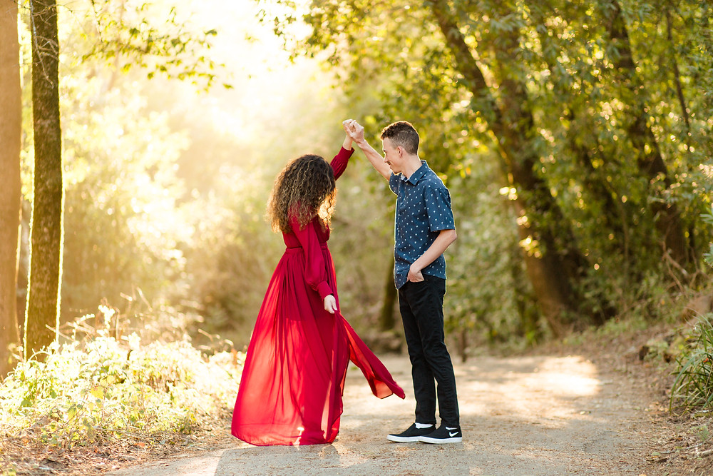 FOREST ENGAGEMENT COUPLE HENRY COWELL DANCING