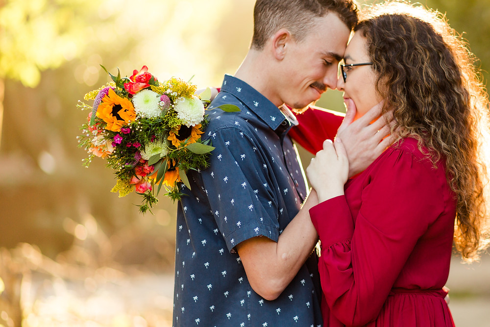 FOREST ENGAGEMENT COUPLE HENRY COWELL RED DRESS BOUQUET