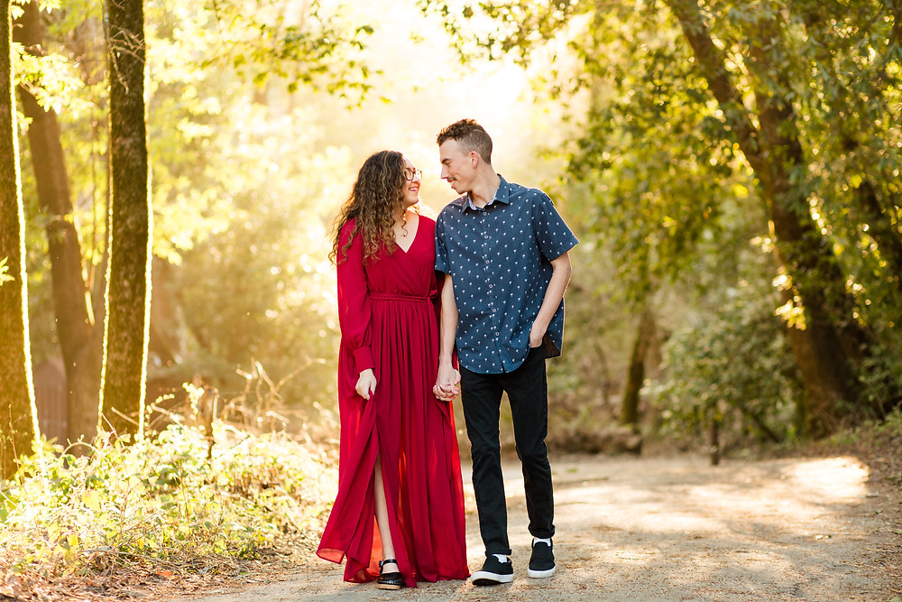 FOREST ENGAGEMENT COUPLE HENRY COWELL RED DRESS