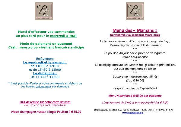 menu des Mamans 2021 service traiteur-pa