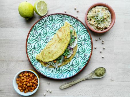 Omelette de pois chiches Vegan, Houmous et pois chiches grillés
