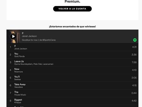La experiencia de darse de baja en Spotify: un 10.