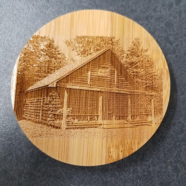 "Laser Photography on 4"" Bamboo Coaster"