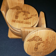 3.5in. Bamboo Coaster Set - Lakes