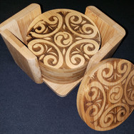 3.5in. Bamboo Coaster Set - Swirls