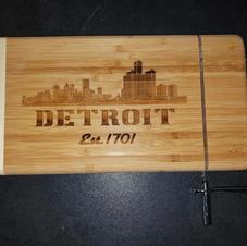 Detroit Skyline - Laser Photo on Bamboo Cutting Board