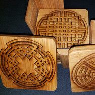 3.5in. Bamboo Coaster Set - Mazes