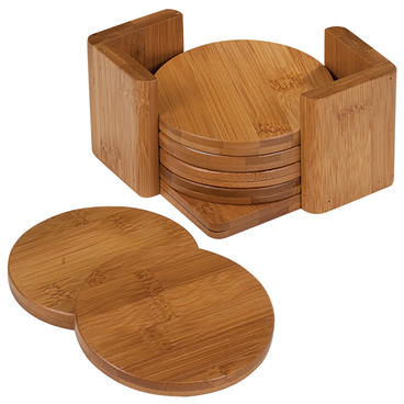 C4 - 3.75 Round Bamboo 6pc Coaster Set