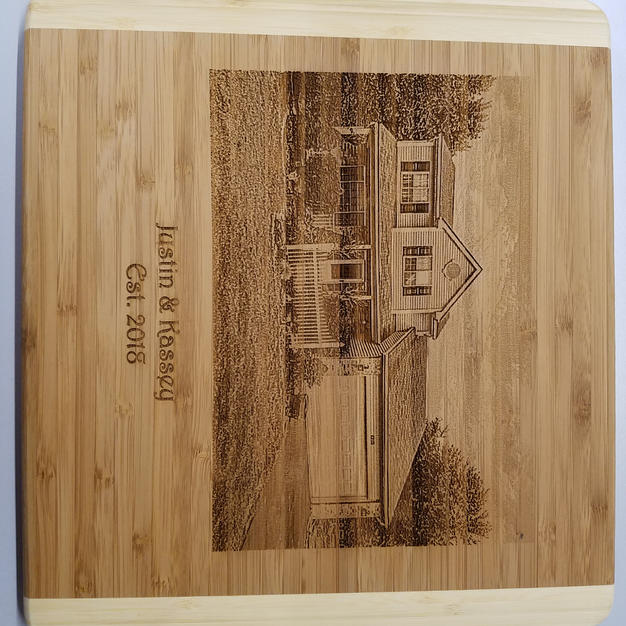 Laser Photography on Bamboo Cutting Board