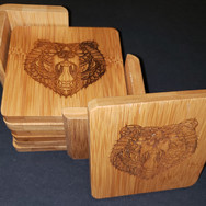 3.5in. Bamboo Coaster Set - Tribal Bear