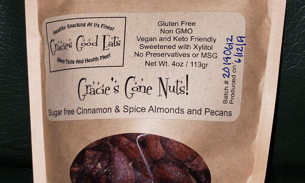 Gracie's Gone Nuts - Sugar Free Cinnamon & Spice Roasted Almonds and Pecans