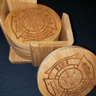 3.5in. Bamboo Coaster Set - Fire Dept_