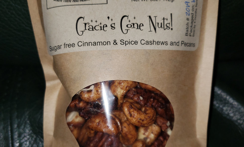 Gracie's Gone Nuts - Sugar Free Cinnamon & Spice Roasted Cashews and Pecans