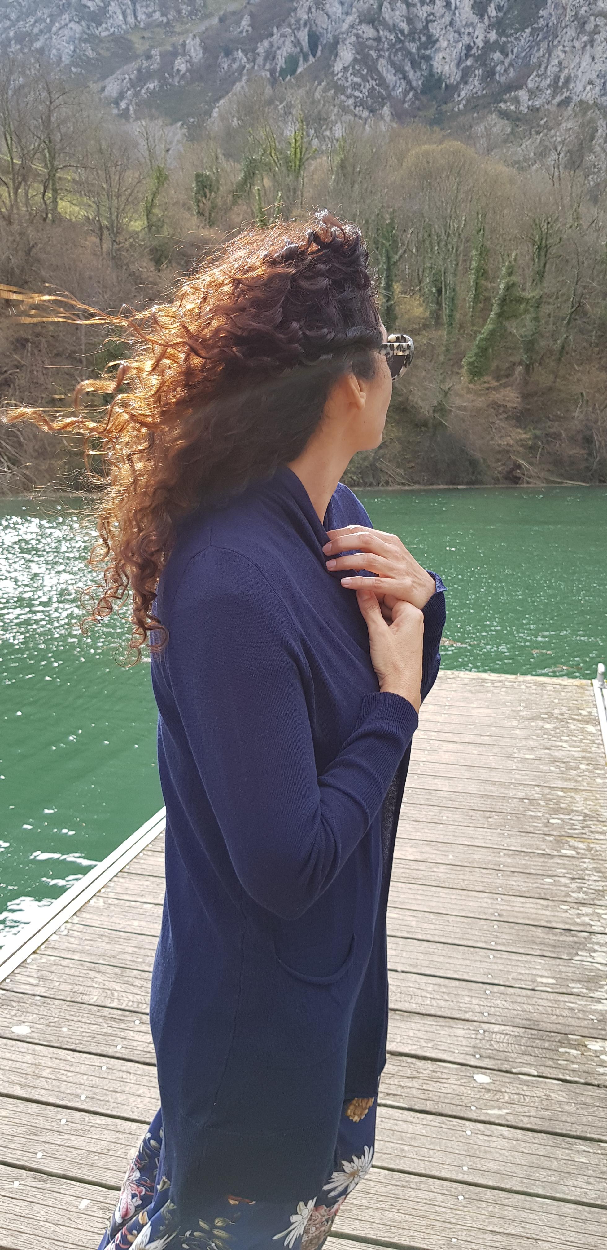 Chaqueta azul larga