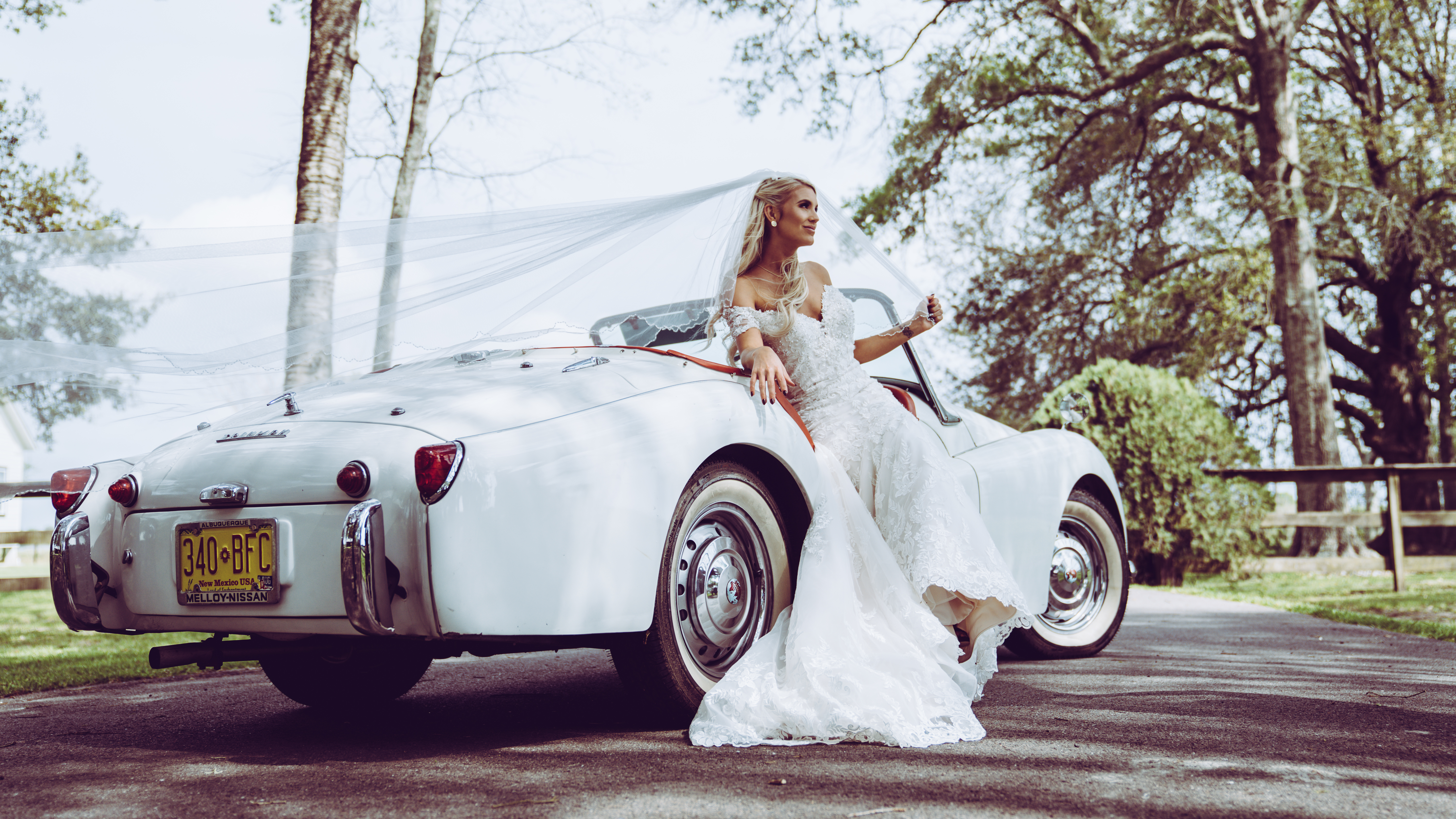 Bride in covertible (1 of 1)