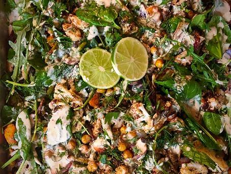 Hearty Roasted Veggie          spring salad