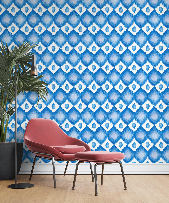 ikat azul parede poltrona