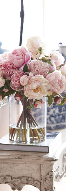 Pink roses on hallway table